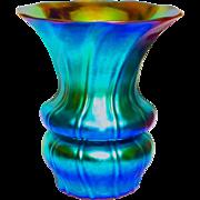 Steuben Blue Aurene Ribbed Vase w/Superb Form & Color