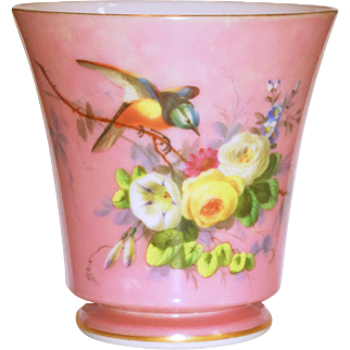 French Opaline Hand Painted Pink Cache Pot w/Birds & Flowers