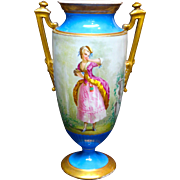 Ca. 1870 Large Limoges Hand Painted Portrait Vase