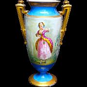 Ca. 1870 Large Limoges Hand Painted Portrait Vase