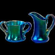 Rare Steuben 2 Piece Blue Aurene Creamer & Sugar Set