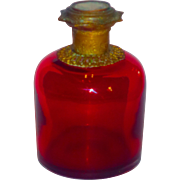 Grand Tour Palais Royale Cranberry Glass Cologne Perfume w/Mounts