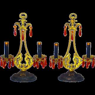 Fine Pair French Empire Style Antique Girandoles Gilt Bronze w/Birds, Ca. 1910