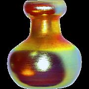 L.C.Tiffany Favrile Cabinet Vase w/Brilliant Golden Iridescence