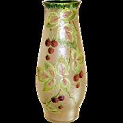 Large Cameo Art Glass Vase w/Blackberries & Enamels