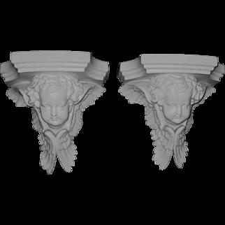 Pair Antique Parian Bisque Angel Cherub Wall Bracket Shelves