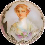 Dresden or Sevres Porcelain w/Silver Overlay Parasol Topper