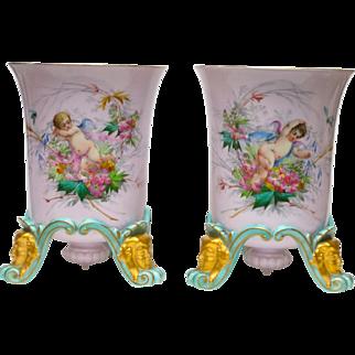 Ca. 1870 Superb Paris Pair Porcelain Vases Cache Pots w/Butterflies & Cherubs