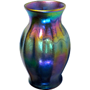 Early L.C. Tiffany Blue Favrile Iridescent Vase