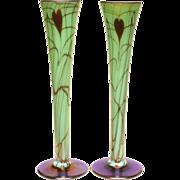 Ca. 1925 Fenton Off Hand Iridescent Original Pair of Vases in Leaf & Vine
