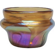Early Tiffany Iridescent Decorated Art Glass Salt or Mini Vase