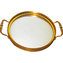 Signed Baccarat Mirrored Bronze Plateau or Dresser Tray