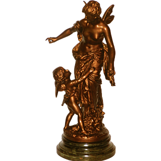 Large Victorian Spelter Parlor Statue Angel or Cupid w/Beautiful Fairy