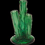 Signed Art Glass Steuben 3-Prong Trunk Vase in Pomona Green