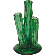 Signed Art Glass Steuben 3-Prong Trunk Vase in Pomona Green