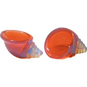 Fine Pair of Murano Cranberry Opalescent Shell Form Salt Dishes