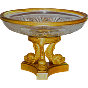 Fine French Ormolu Dolphin Mounted Cut Crystal Dish