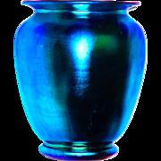 Signed Steuben Blue Aurene Shade Vase