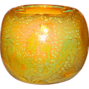 Fine Quality Daum Cameo Glass Fiery Opalescent Vase w/Thistles