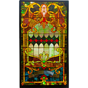 Antique (ca. 1890) Jeweled Victorian Original Stained Glass Window