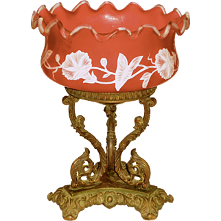 Fantastic Large Cranberry Cameo Carved Glass Bride's Bowl in Bronze Frame