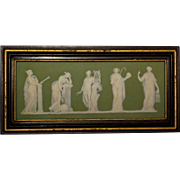 Wedgwood 19th century Jasperware Framed Plaque Apollo w/Muses