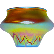 Rare Steuben Intarsia Decorated Aurene Vase