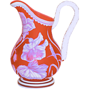 Incredible Quality Thomas Webb Cameo Glass Carved Pitcher George Woodall Att.