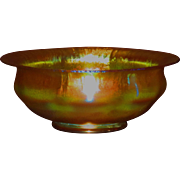 L.C. Tiffany Favrile Glass Golden Iridescent Large Bowl