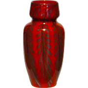 Large Paperweight Decorated Art Glass Vase in Candy Apple Red
