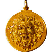 Fine Quality 18k Gold & Diamond Pendant w/Mask Inspired by Antiquity