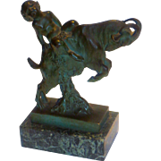 Karl Perl Satyr on Goat Antique Bronze Statue Signed Original Listed Artist