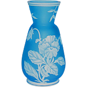 Thomas Webb Carved Cameo Art Glass Vase w/Pansy
