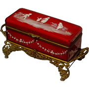 Large Mary Gregory Mounted Dresser Casket Cased Ruby w/Lawn Bowling