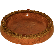 Fine Austrian Bronze Mount & Jeweled Large Rouge Marble Dresser Tray
