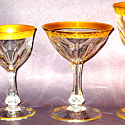 Moser Lady Hamilton Crystal 4 PC. Grouping Crystal w/Gilt & Etched Trim