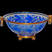 Rare 19th C Baccarat Cameo Glass Bronze Mounted Bowl w/Frieze of Acorns