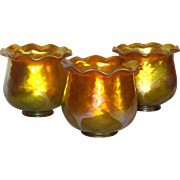 Rare Set /3 Quezal Decorated Iridescent Art Glass Shades