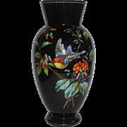 Large & Colorful Black Opaline Art Glass Vase w/Bird & Florals