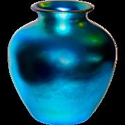 "Large 10.5"" Steuben Aurene Blue Classical Iridescent Art Glass Vase"