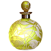 English Cameo Glass Silver Mount Perfume Bottle in Citron