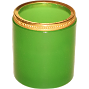 French Opaline Bronze Gilt Mount Toothpick in Imperial Jade Green
