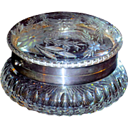Large Pairpoint Murillo Pattern Butterfly Cut Glass Dresser Jar, Box, or Casket