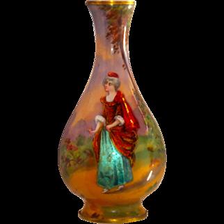 Fine French Enamel over Foil Cabinet Vase w/18th C Lady
