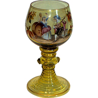 Antique Bohemian Theresienthal Historical Glass Large Enalemed Roemer