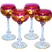 "Set of 4 Exquisite Quality St. Louis Amethyst Massenet 6.75"" Goblets"