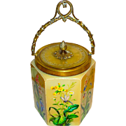 French Cut Opaline Glass Biscuit Jar w/Enamel Insects & Bronze Mounts