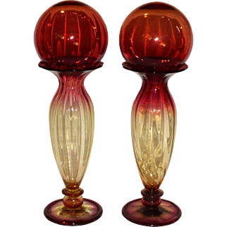 William L. Libbey estate Pair (2) Covered Amberina Vases w/ Witch Balls