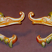 Art Deco ca.1930 Polychrome Dragon Mythological Beast Curtain Tiebacks