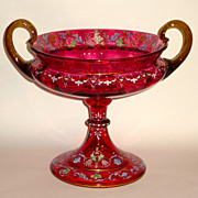 Superb Cranberry Glass Renaissance Style ca. 1880 Large Enamel Centerpiece w/Cherubs, Grotesques, Etc.